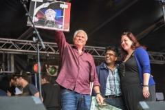 Op podium met Cesar Zuiderwijk en Mayka